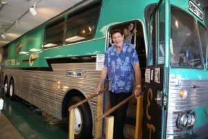 Freddie aboard Ernest Tubb's Green Hornet Bus June 2017, Nashville